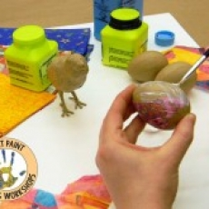 Decoupage Paper Mache Spring Chick And Eggs With Liz Carlson